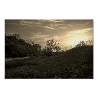 Sunset over the Raba River Poster