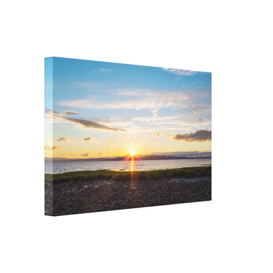 Sunset Over The Saint-Lawrence River Canvas Print