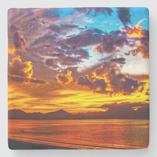 Sunset Over the Water Photography Stone Beverage Coaster
