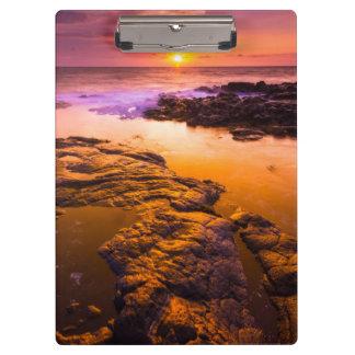 Sunset over tide pools, Hawaii Clipboard