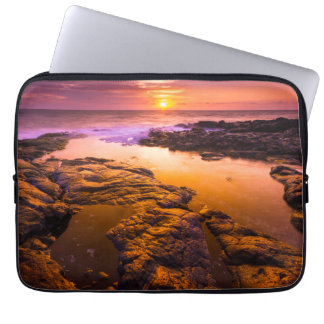 Sunset over tide pools, Hawaii Laptop Sleeve