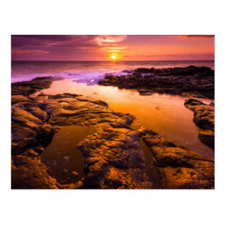 Sunset over tide pools, Hawaii Postcard