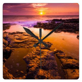 Sunset over tide pools, Hawaii Wall Clocks