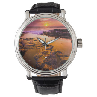 Sunset over tide pools, Hawaii Wristwatch