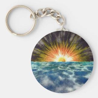 Sunset Over Water Basic Round Button Keychain