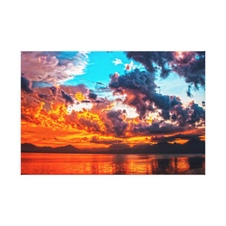Sunset over Water Gallery Wrapped Canvas