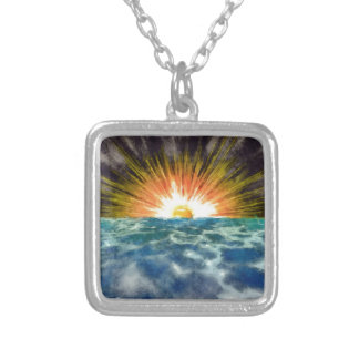 Sunset Over Water Silver Plated Necklace