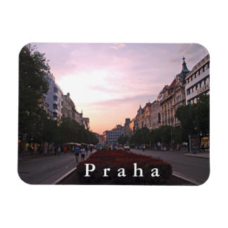 Sunset over Wenceslas Square in Prague. Magnet
