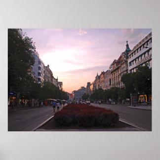 Sunset over Wenceslas Square in Prague. Poster