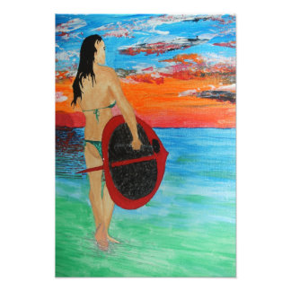 Sunset paddle boarder photographic print