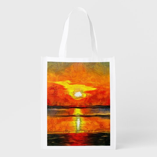 Sunset painting market totes