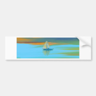 sunset painting smooth sailing bumper sticker