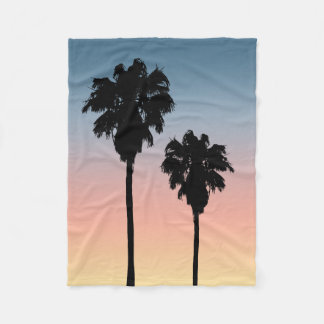 Sunset Palm Trees Fleece Blanket