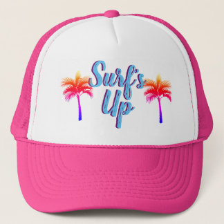 Sunset Palm Trees Surf's Up Trucker Hat