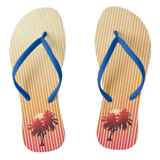 Sunset Palm Trees Tropical Vacation Flip Flops