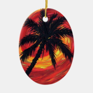 Sunset palms ceramic ornament
