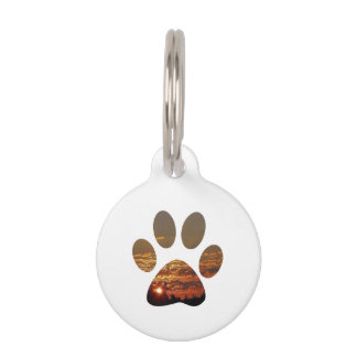 Sunset Paw Print , Round Small Pet Tag