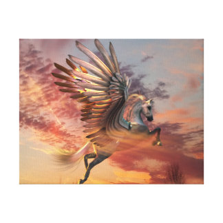 "Sunset Pegasus 14"" x 11"" Canvas Print, customize"