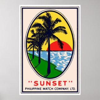 Sunset Philippine Match Company, LTD Label Poster