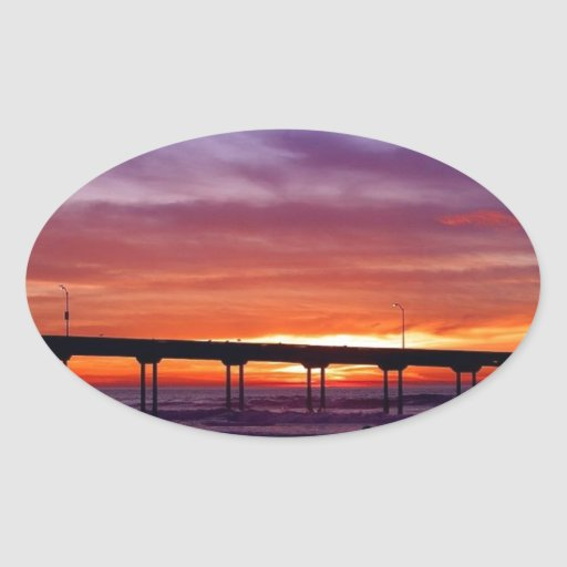 Sunset Pier Oval Stickers