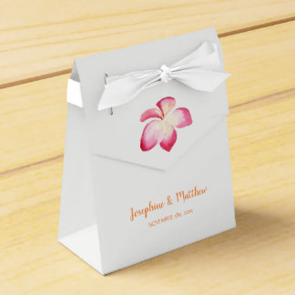 Sunset Plumeria Pink Watercolor Wedding Favor Box
