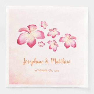 Sunset Plumeria Pink Watercolor Wedding Paper Dinner Napkin