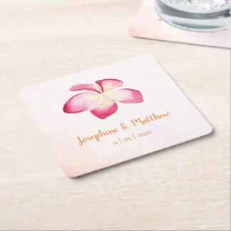 Sunset Plumeria Pink Watercolor Wedding Square Paper Coaster
