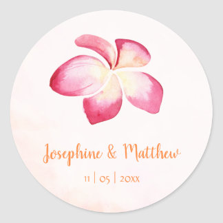 Sunset Plumeria Pink Watercolor Wedding Stickers