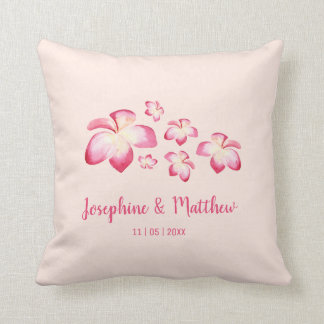 Sunset Plumeria Pink Watercolor Wedding Throw Pillow