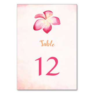 Sunset Plumeria Watercolor Table Number Cards