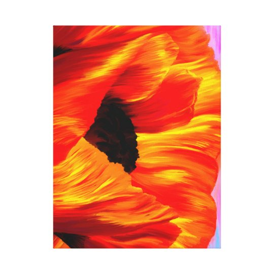 Sunset Poppy on Wrapped Canvas