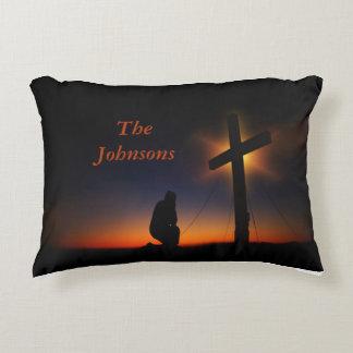 Sunset Prayer at the Cross Accent Pillow