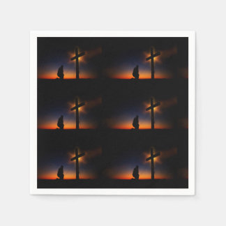 Sunset Prayer at the Cross Disposable Napkins