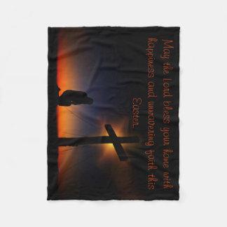 Sunset Prayer at the Cross Fleece Blanket
