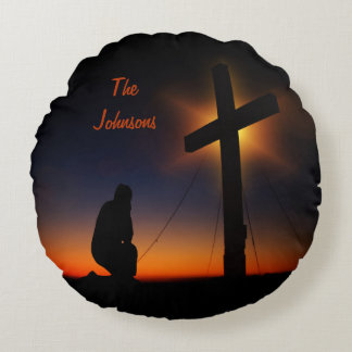 Sunset Prayer at the Cross Round Pillow