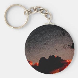 Sunset Red Basic Round Button Keychain