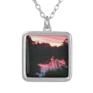 Sunset Reflections Before the Storm Silver Plated Necklace