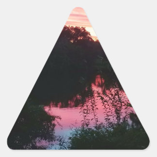 Sunset Reflections Before the Storm Triangle Sticker