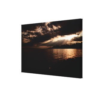Sunset River Scene Wrapped Canvas