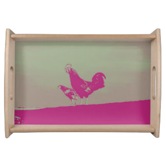 Sunset rooster serving tray