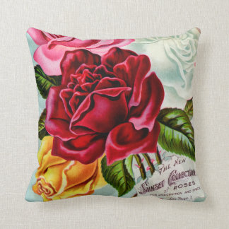 Sunset Roses Collection Vintage Advertisement Throw Pillow