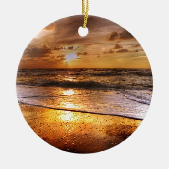 Sunset Round Ceramic Ornament