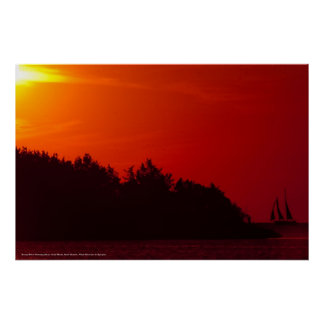 sunset Sail at Ocracoke Island Poster