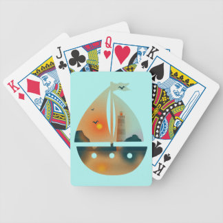 Sunset_sail boat bicycle playing cards