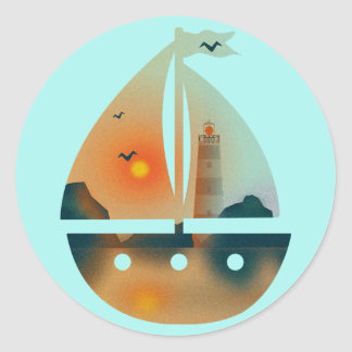 Sunset_sail boat classic round sticker