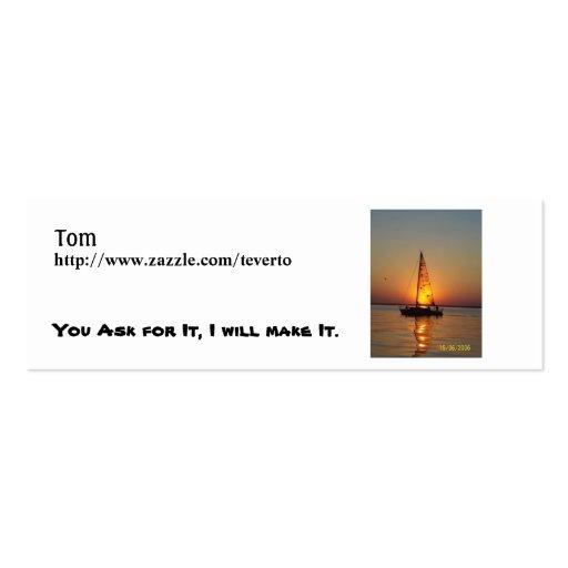 sunset sail, Tom, http://www.zazzle.com/teverto... Mini Business Card