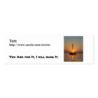 sunset sail, Tom, http://www.zazzle.com/teverto... Pack Of Skinny Business Cards