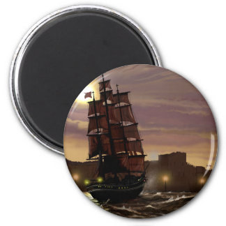 Sunset sailing boat viewed through spyglass. 2 inch round magnet