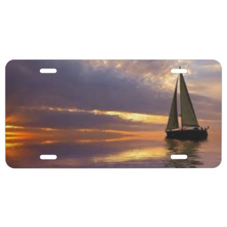 Sunset Sailing License Plate