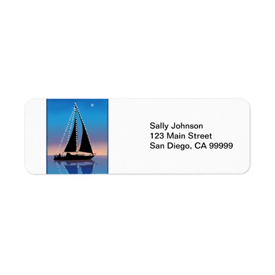 Sunset Sails with Holiday Lights Return Address Label